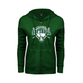 ENZA Ladies Dark Green Fleece Full Zip Hoodie-Softball Crossed Bats w/ Plate Design