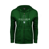 ENZA Ladies Dark Green Fleece Full Zip Hoodie-Soccer Stacked Design