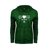 ENZA Ladies Dark Green Fleece Full Zip Hoodie-Just Kick It Soccer Design