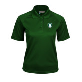 Ladies Dark Green Textured Saddle Shoulder Polo-Shield
