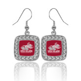 Crystal Studded Square Pendant Silver Dangle Earrings-Official Logo