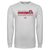 White Long Sleeve T Shirt-2018 HCAC Volleyball Champions