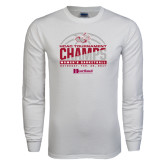 White Long Sleeve T Shirt-HCAC Tournament Champs - Womens Basketball 2017 Half Ball