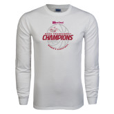 White Long Sleeve T Shirt-2017 HCAC Tournament Champions - Womens Basketball Lined Ball