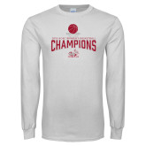 White Long Sleeve T Shirt-Womens Basketball Champions