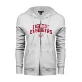 ENZA Ladies White Fleece Full Zip Hoodie-Fightin Engineers Arched