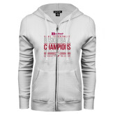 ENZA Ladies White Fleece Full Zip Hoodie-HCAC Tournament Champions - Womens Basketball Stacked