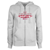ENZA Ladies White Fleece Full Zip Hoodie-Womens Track And Field Champions