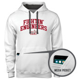 Contemporary Sofspun White Hoodie-Fightin Engineers Arched
