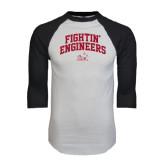 White/Black Raglan Baseball T-Shirt-Fightin Engineers Arched