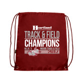 Cardinal Drawstring Backpack-Heartland Conference Tournament Champions Mens Indoor Track and Field 2017