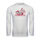 Performance White Longsleeve Shirt-Rosie with Rose-Hulman