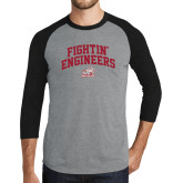 Grey/Black Tri Blend Baseball Raglan-Fightin Engineers Arched