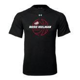 Under Armour Black Tech Tee-Rose-Hulman Basketball w/ Lined Ball