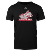 Adidas Black Logo T Shirt-Rosie with Rose-Hulman