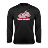 Performance Black Longsleeve Shirt-Rosie with Rose-Hulman