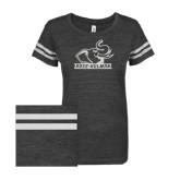 ENZA Ladies Black/White Vintage Triblend Football Tee-Rosie with Rose-Hulman White Soft Glitter