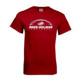 Cardinal T Shirt-Rose-Hulman Football w/ Football Horizontal