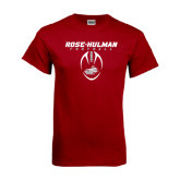 Cardinal T Shirt-Rose-Hulman Football w/ Football Vertical