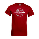 Cardinal T Shirt-Rose-Hulman Basketball w/ Lined Ball