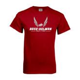 Cardinal T Shirt-Rose-Hulman Track & Field w/ Wings