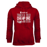 Cardinal Fleece Hoodie-Heartland Conference Tournament Champions Mens Indoor Track and Field 2017