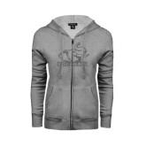ENZA Ladies Grey Fleece Full Zip Hoodie-Rosie with Rose-Hulman Graphite Glitter