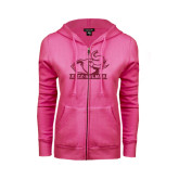 ENZA Ladies Fuchsia Fleece Full Zip Hoodie-Rosie with Rose-Hulman Hot Pink Glitter