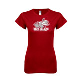 Next Level Ladies SoftStyle Junior Fitted Cardinal Tee-Official Logo