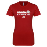 Next Level Ladies SoftStyle Junior Fitted Cardinal Tee-2018 HCAC Volleyball Champions