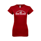 Next Level Ladies SoftStyle Junior Fitted Cardinal Tee-Rose-Hulman Football w/ Football Horizontal