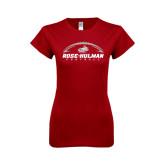 Next Level Ladies SoftStyle Junior Fitted Cardinal Tee-Rose-Hulman Football w/ Football Horizontal