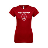 Next Level Ladies SoftStyle Junior Fitted Cardinal Tee-Rose-Hulman Football w/ Football Vertical