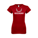 Next Level Ladies SoftStyle Junior Fitted Cardinal Tee-Rose-Hulman Track & Field w/ Wings