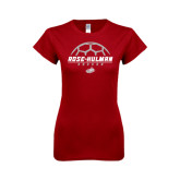 Next Level Ladies SoftStyle Junior Fitted Cardinal Tee-Rose-Hulman Soccer Stacked w/ Ball