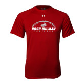 Under Armour Cardinal Tech Tee-Rose-Hulman Football w/ Football Horizontal