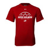 Under Armour Cardinal Tech Tee-Rose-Hulman Soccer Stacked w/ Ball