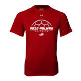 Under Armour Cardinal Tech Tee-Rose-Hulman Soccer Stacked w/ Ball