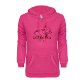 ENZA Ladies Hot Pink V Notch Raw Edge Fleece Hoodie-Rosie with Rose-Hulman Hot Pink Glitter