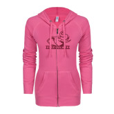 ENZA Ladies Hot Pink Light Weight Fleece Full Zip Hoodie-Rosie with Rose-Hulman Hot Pink Glitter
