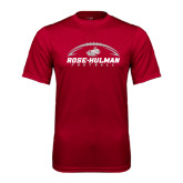 Performance Cardinal Tee-Rose-Hulman Football w/ Football Horizontal