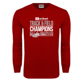 Cardinal Long Sleeve T Shirt-Heartland Conference Tournament Champions Mens Indoor Track and Field 2017