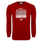 Cardinal Long Sleeve T Shirt-2017 HCAC Tournament Champions Repeating - Womens Basketball