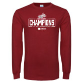 Cardinal Long Sleeve T Shirt-Mens Swimming and Diving Champions