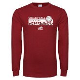 Cardinal Long Sleeve T Shirt-2018 HCAC Volleyball Champions