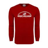 Cardinal Long Sleeve T Shirt-Rose-Hulman Football w/ Football Horizontal
