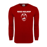 Cardinal Long Sleeve T Shirt-Rose-Hulman Football w/ Football Vertical