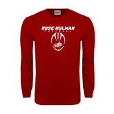 Cardinal Long Sleeve T Shirt-Rose-Hulman Football w/ Football Vertical