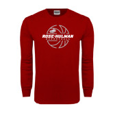 Cardinal Long Sleeve T Shirt-Rose-Hulman Basketball w/ Lined Ball