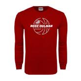 Cardinal Long Sleeve T Shirt-Rose-Hulman Basketball w/ Lined Ball